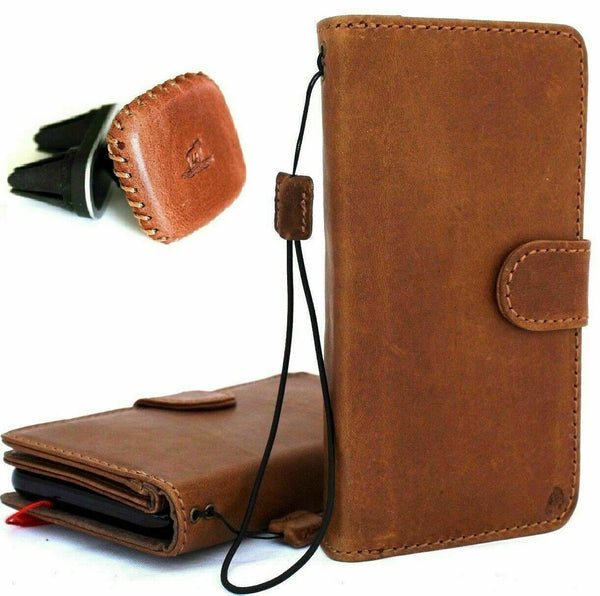 Genuine Real Leather case for Apple iPhone XR cover wallet credit holder magnetic book tan Removable detachable luxury Rubber holder + Magnetic Car Holder
