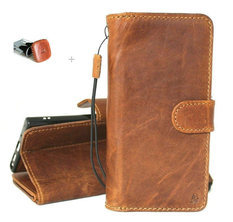Genuine Natural Tanned Leather Case for Samsung Galaxy Note 20 Ultra book wallet Removable cover Cards ID window magnetic slim + Magnetic Car Holder Daviscase