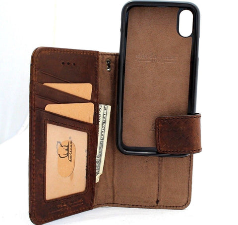 Genuine real leather for apple iPhone x case cover wallet credit holder magnetic book Removable detachable  luxury holder slim Jafo