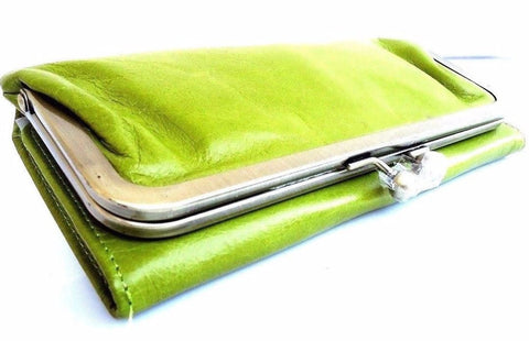 GENUINE REAL LEATHER WOMAN PURSE CARDS SLOTS WALLET CLUTCH COINS BAG LIGHT green DESIGNED SKIN DAVISCASE