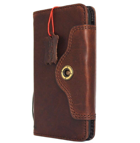 Genuine Natural leather iPhone 8 Plus Case Cover Wallet Credit Cards Holder Book Luxury Dark Brown DavisCase 1948