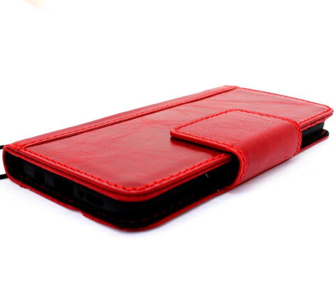 Genuine retro natural leather Case for Samsung Galaxy S9 Plus book wallet Red wine cover cards slots handmade Jafo design