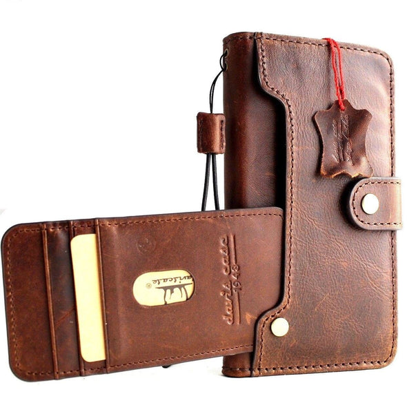 Genuine leather for Apple iPhone XR case cover vintage wallet credit book wireless charge luxury holder handmade Jafo