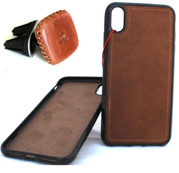 Genuine Leather Case For Apple Iphone XS Handmade Cover Magnetic Car Holder X 10 slim