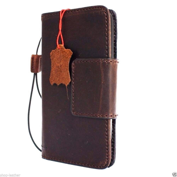 Genuine vintage leather Case for LG Stylus 2 book wallet magnet cover dark brown cards slots slim handmade daviscase