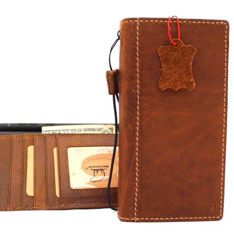 Genuine vintage leather Case for Samsung Galaxy note 9 book wallet elastic strap cover cards Jafo slots Tan daviscase