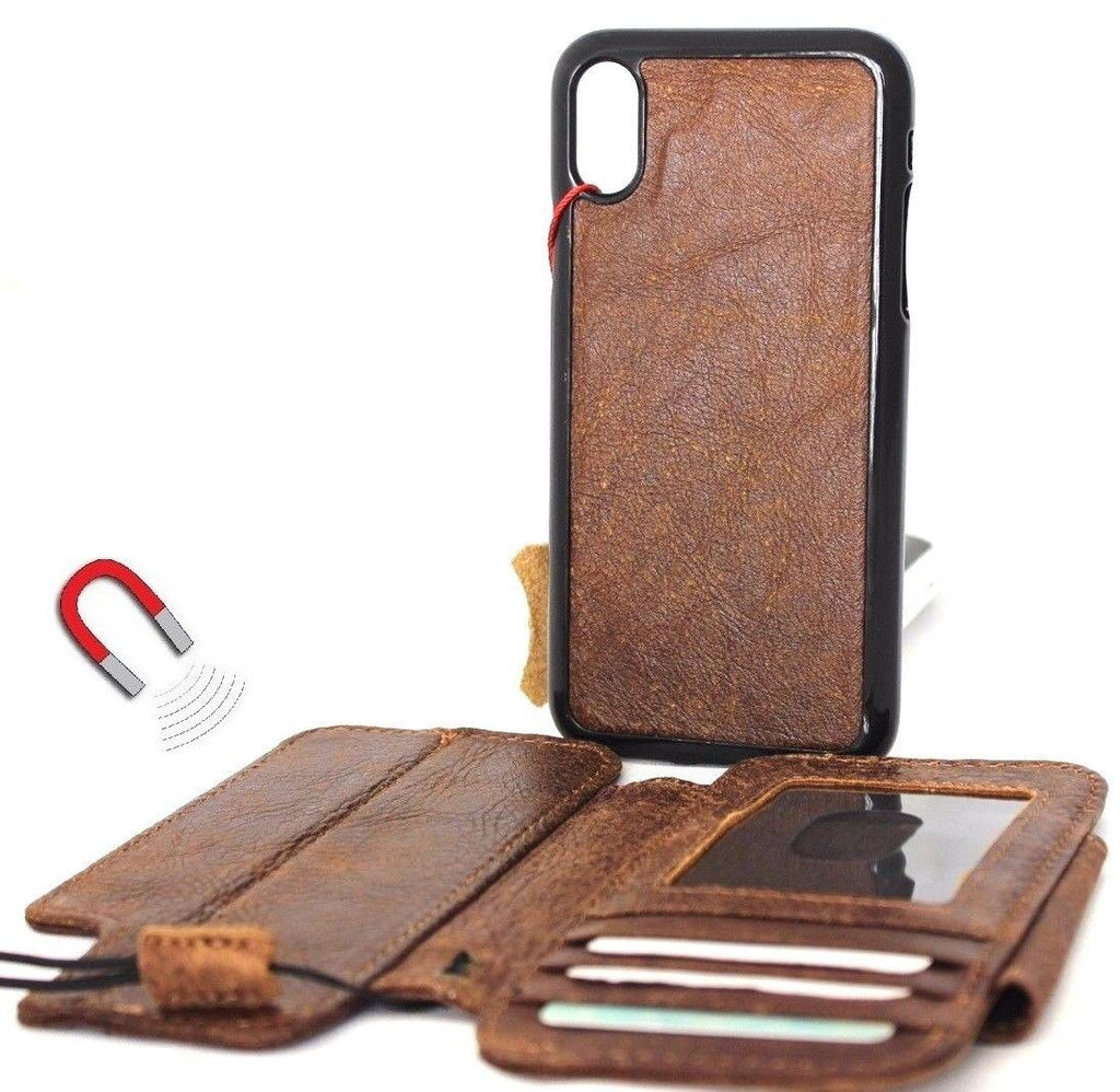 pretty nice ef644 2de9e Genuine real leather for apple iPhone x case cover wallet credit holder  magnetic book tan Removable detachable luxury holder slim davis