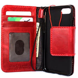 Genuine Full Leather Case for Iphone 8 Cover Book Wallet Cards Magnetic Soft Davis Classic Art Wireless Charging Red Wine