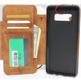 Genuine vintage leather case for samsung galaxy note 8 book Removable wallet magnetic closure cover cards slots detachable holder slim daviscase R