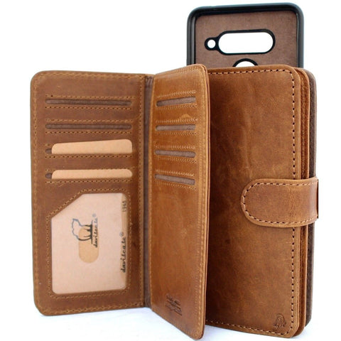Genuine vintage leather Case for LG V40 book detachable wallet magnetic Removable cover slim Tan brown cards slots handmade daviscase