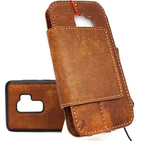 Genuine italian leather Case for Samsung Galaxy S9 Plus book wallet coverbCards Removable detachablebb card slots window vintage brown slim jafo 48