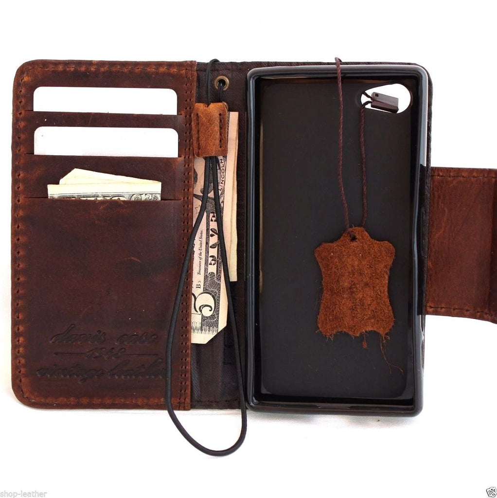 new style dc599 e9795 genuine vintage italian leather hard Case for sony Xperia Z5 Compact book  wallet 5 z handmade UK