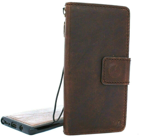 Genuine retro leather case for Samsung Galaxy Note 10 book wallet soft Removable holder slots rubber stand window detachable magnetic Dark brown