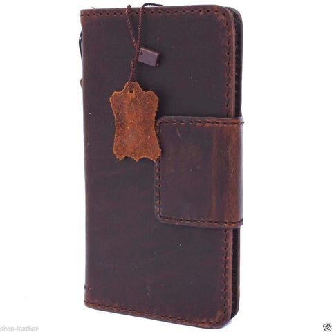 Genuine Real Leather Case for Huawei Nexus 6P Book Wallet magnet closure cover Handmade Retro Luxury Art brown daviscase