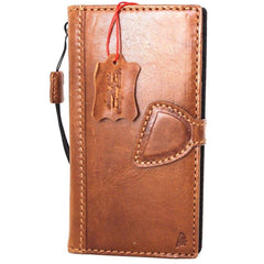 Genuine Leather Case for iPhone X book wallet magnet closure cover Cards slots Slim vintage bright brown Daviscase D