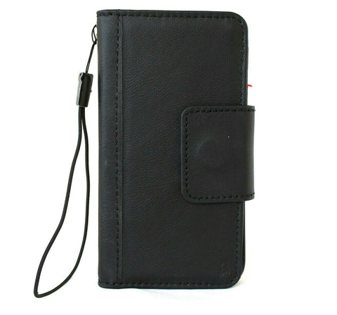 Genuine Full Leather Case For Apple iPhone 12 Book Wallet Vintage Design Credit Cards Slots Magnetic Closure Black Cover Full Grain DavisCase