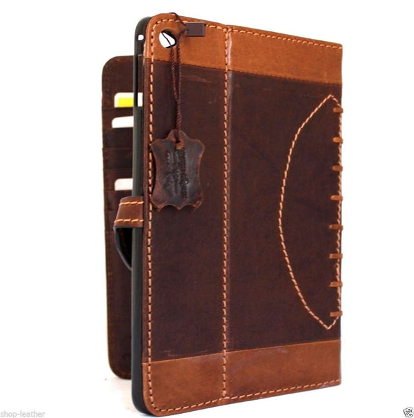 genuine natural Leather Bag for apple iPad mini 4 case cover luxury brown slim sport football design daviscase