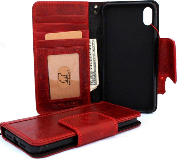 Genuine oiled leather for apple iPhone XS MAX case cover wallet credit soft holder magnetic Red wine book retro design, Jafo 48 studio