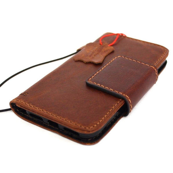 genuine full leather case for iphone 8 cover book wallet cards magnetic slim davis classic Art Wireless charging lite