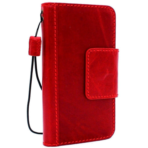 Genuine italian leather Case for Samsung Galaxy S9 book Jafo wallet handmade oiled magnetic cover s Businesse daviscase Red wine