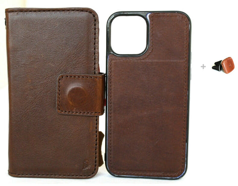 Genuine Soft Leather Case For Apple iPhone 12 Book Wallet Vintage Design Credit Cards Slots Dark Cover Removable Magnetic Full Grain + Magnetic Car Holder DavisCase