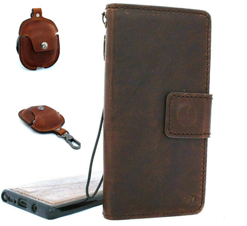 Genuine Vintage leather case for Samsung Galaxy Note 10 Plus book wallet soft Removable holder slots rubber stand detachable magnetic Dark brown + Airpods2