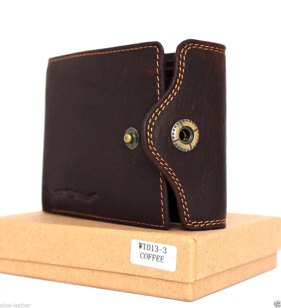 Men's Natural Leather Wallet 4 Card Slots 1 ID Window 2 Bill Sections Bi-fold Brown DavisCase