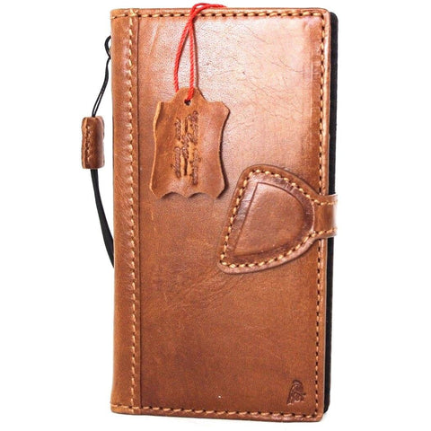 Genuine Leather Case for iPhone XS book wallet magnet closure cover Cards slots Slim vintage bright brown Daviscase D
