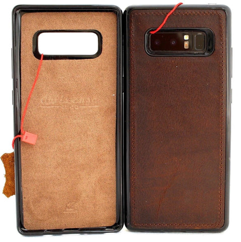 Genuine leather case fo samsung galaxy note 8 book cover soft magnetic vintage slim rubber daviscase
