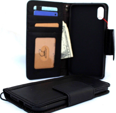 Genuine Leather Case for iPhone XS MAX book wallet magnet closure cover Cards slots Slim vintage black Daviscase