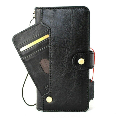 Genuine Top Grain Leather Case for Samsung Galaxy S21 Ultra 5G Book Credit Cards Wallet Handmade Rubber Holder Cover Wireless Black Daviscase