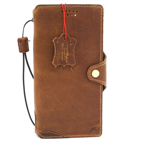 Genuine Tanned Leather Case for Samsung Galaxy Note 20 Ultra 5G book wallet handmade rubber credit cards holder cover Wireless charging DavisCase