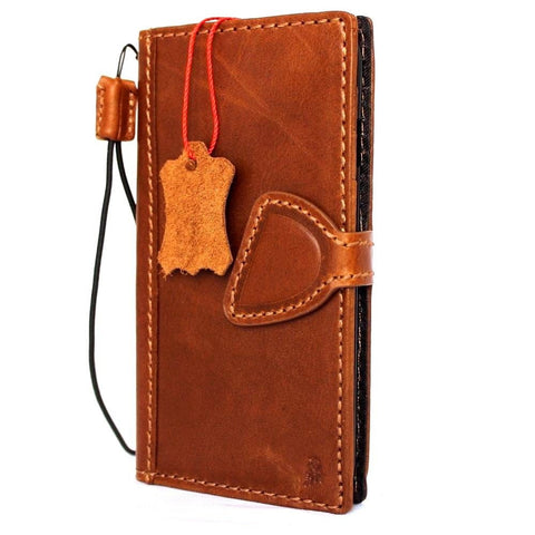 genuine oiled real leather Case for apple iphone 7 book wallet cover magnetic DE