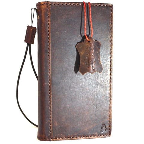 Genuine vintage italian leather Case  for sony Xperia ZX book wallet slim cover brown cards holder slots thin handmade daviscase