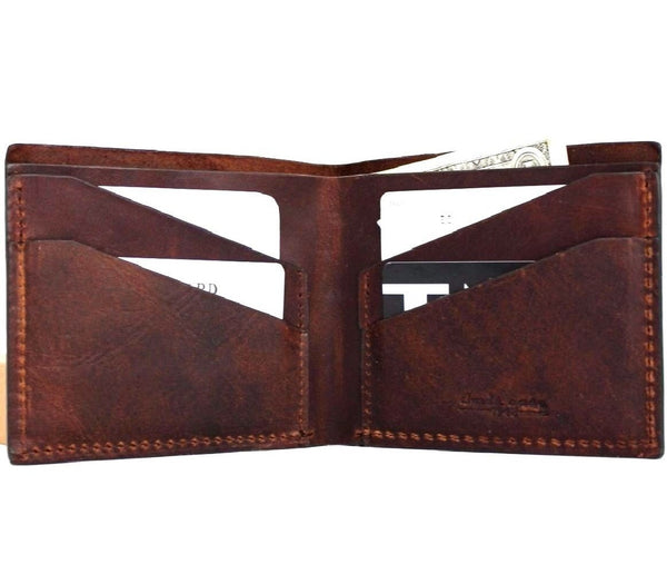 Men's Real Soft Leather wallet 4 Credit Card Slots 1 Bill Compartment Slim Handmade Brown DavisCase