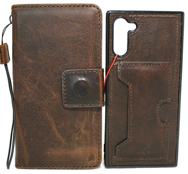 Genuine Full Dark leather case for Galaxy Note 10 book bible wallet cover Window rubber Handmade stand Removable soft Wireless Charging DavisCase