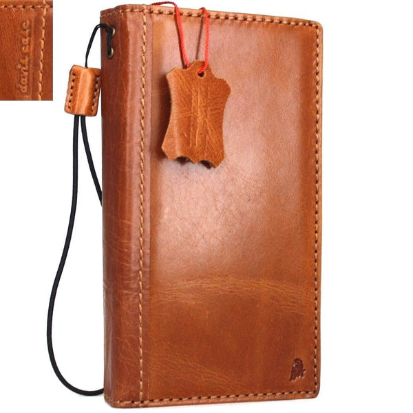 genuine vintage leather Case for Samsung Galaxy Note 4 book wallet cover slim cards slots thin bright brown daviscase