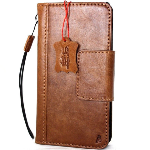 Genuine vintage leather case for samsung galaxy note 8 book wallet magnetic closure cover cards slots brown slim daviscase IL