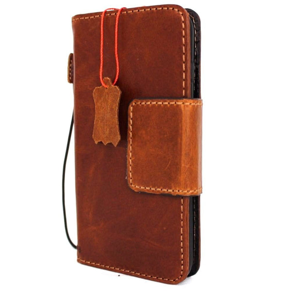 Genuine Tan Leather iPhone 8 Plus Magnetic Case Cover Wallet Credit Cards Holder Luxury Handmade Davis 1948