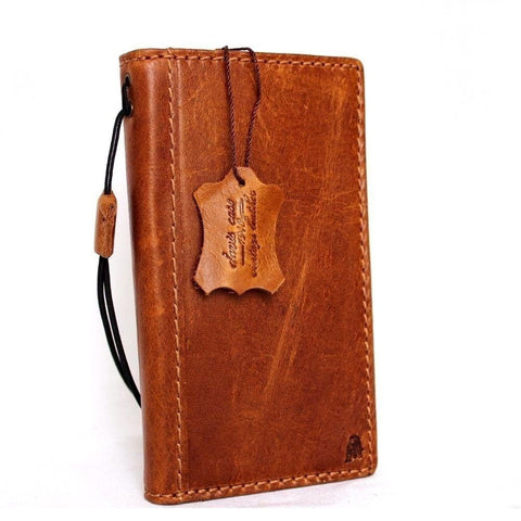 genuine vintage leather Case for Samsung Galaxy S6 book wallet luxury cover slim light bown daviscase