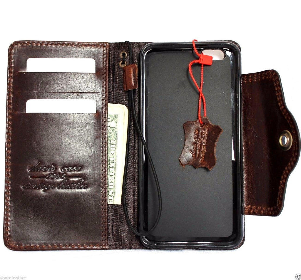 genuine OIL leather case for iphone 6s plus cover book wallet band ...