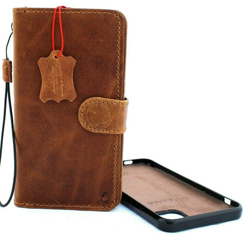 Genuine Vintage Full leather for Apple iPhone 11 Pro Max Case Cover Wallet Credit Holder Flip Magnetic Book Tan Removable Detachable Prime Strap luxury