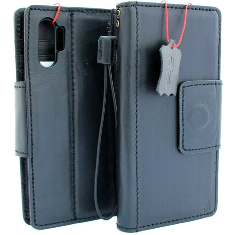 Genuine vintage leather case for samsung galaxy note 10 plus book wallet soft holder slots rubber Magnetic closure Black Jafo