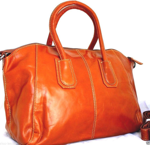 Genuine real leather bag for woman orange handbag purse tote hobo lady 70s RETRO style spacious
