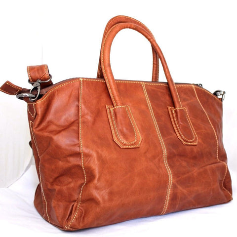 Genuine real leather woman bag tote hobo lady MESSENGER handbag Bright Brown new