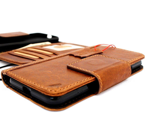 Genuine natural Leather Case for Google Pixel 3 Book Wallet premium Handmade magnetic Tan Davis