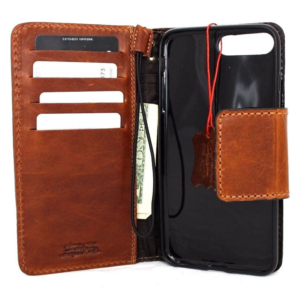 detailed look 13f26 d3342 Genuine REAL leather iPhone 7 plus magnetic case cover wallet credit holder  book luxury handmade Rfid Pay