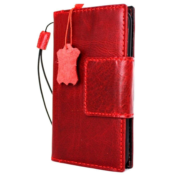 Genuine REAL leather iPhone 7 magnetic Red wine case cover wallet credit holder book luxury Rfid Pay eu