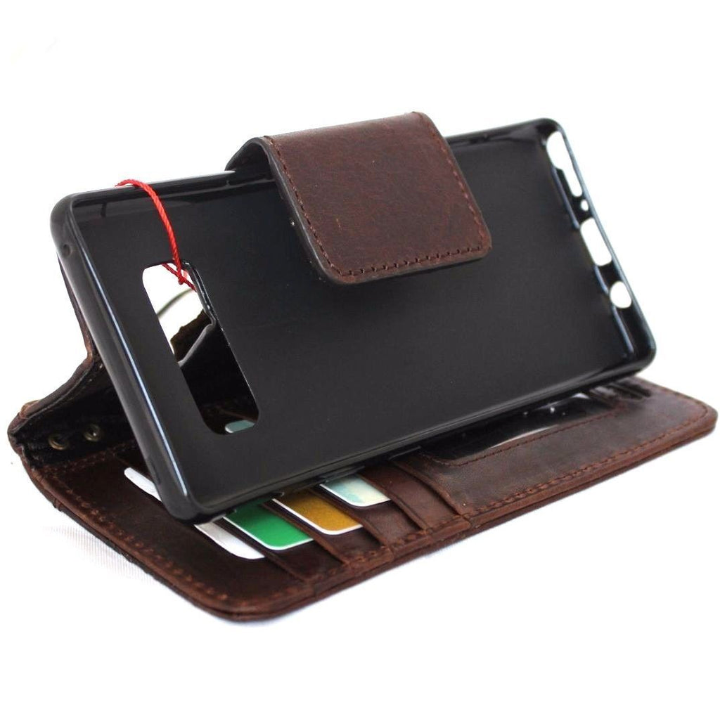 san francisco 1f6b5 e3605 Genuine vintage leather case for samsung galaxy note 8 book wallet magnet  closure cover cards slots brown slim daviscase