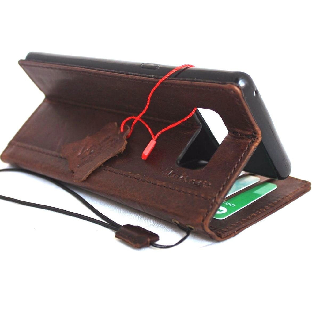 promo code b7994 108ad Genuine vintage leather case for samsung galaxy note 8 book wallet cover  cards slots brown slim daviscase